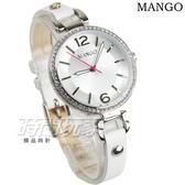 MANGO 晶鑽框 數字簡約氣質真皮手環女錶 防水手錶 白色 藍寶石水晶 MA6724L-80