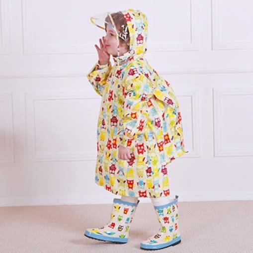 書包雨衣 安全透明大帽沿 滿印卡通雨衣 (有同款雨鞋) 附收納袋  橘魔法 現貨  童裝 兒童雨具