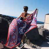巴厘島度假絲巾女夏百搭防曬披肩圍巾兩用泰國海邊紗巾流蘇沙灘巾