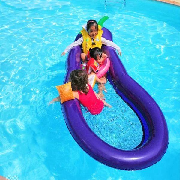 浮排 超大270cm充氣茄子浮排 水上浮漂墊 網布浮床 環保加厚 創想數位DF