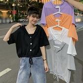 韓版學生ins潮下擺抽繩設計感短款上衣2021夏季新款連帽短袖t恤女 【Ifashion】