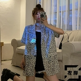 垂感雪紡豹紋小西裝外套女夏季寬鬆韓版短袖西服薄款【左岸男裝】