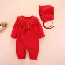 新年寶寶拜年服【HA0009】寶寶空氣棉大紅連身衣 嬰兒 連身衣 兔裝 寶寶服 新生兒服 (70-80碼)