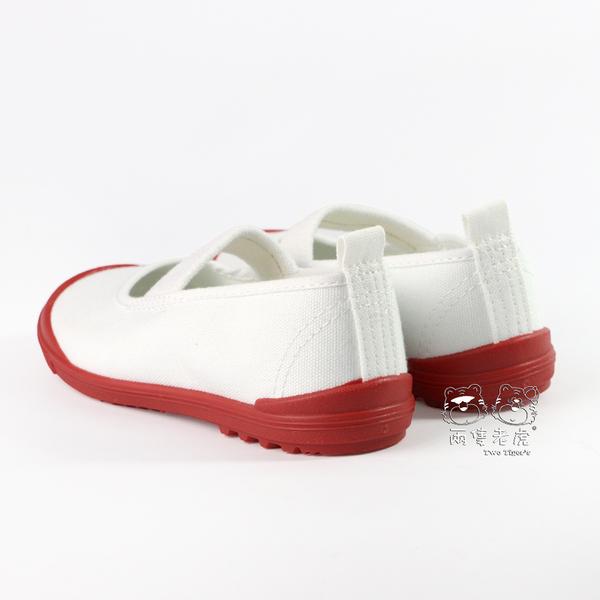日本月星 MoonStar 白 / 紅色 帆布膠底 止滑兒童室內鞋 NO.Q5918