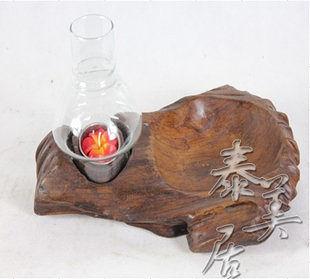 木雕擺件 家居飾品 擺設實木燭台