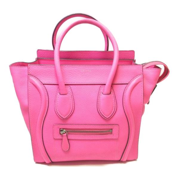 CELINE 賽琳 亮桃紅牛皮手提包 Micro Luggage Tote Bag【二手名牌BRAND OFF】