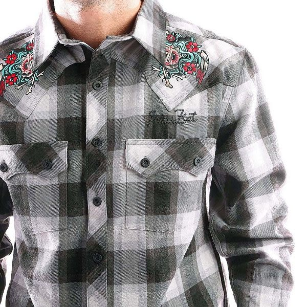 中性 法蘭絨 灰白格紋襯衫 薄外套 美式復古刺青 雙刺繡 大尺碼 鐵拳