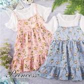 夏日浪漫彩花漾假兩件短袖洋裝-2色(290654)【水娃娃時尚童裝】