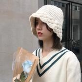 促銷休閒軟妹漁夫帽子女秋冬天潮百搭素色花邊針織毛線盆帽潮 宜室