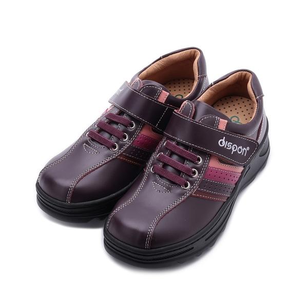 地之柏 DISPON 牛皮魔鬼氈厚底休閒鞋 紫 女鞋
