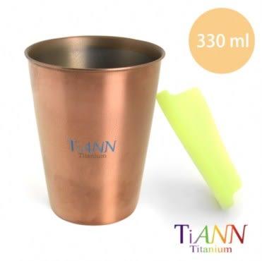 【鈦安純鈦餐具TiANN】純鈦雙層咖啡杯 可可色 330ml(贈杯蓋-綠)