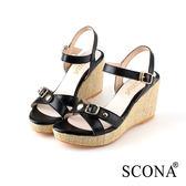 SCONA 蘇格南 全真皮 簡約時尚交叉楔型涼鞋 黑色 22721-1