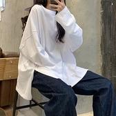 ins超火T恤女春秋冬純色開叉長袖打底衫韓版潮學生外穿寬鬆上衣服