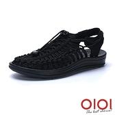 涼鞋 輕潮玩酷編織繩情侶鞋(男女款-黑)*0101shoes【18-D888bk】【現+預】