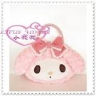 小花花日本精品♥ Hello Kitty 美樂蒂 絨毛手提包/提袋相機袋 布蘭奇洛麗塔 粉色緞帶41106105