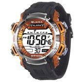 JAGA 捷卡 電子錶 防水 冷光 男錶 運動錶 學生錶 軍錶 M1041-AI 黑橘