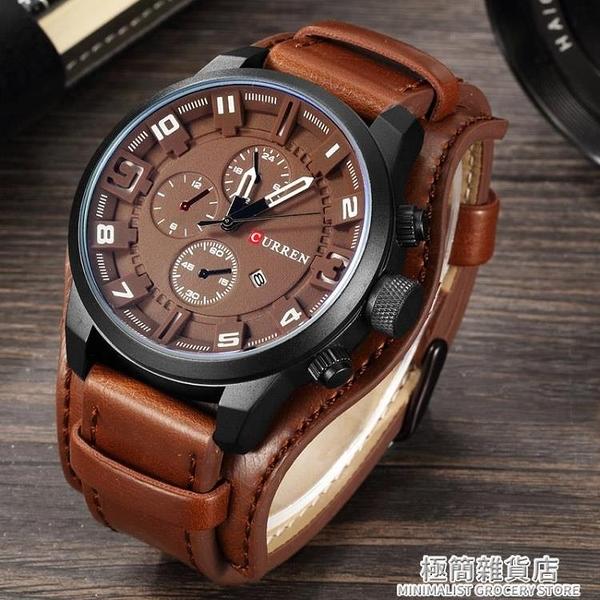 Curren卡瑞恩全新時尚手表男兩用真皮朋克腕表機車手表學生表原裝 極簡雜貨