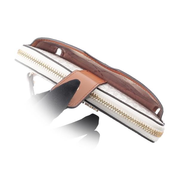 【MICHAEL KORS】PVC LOGOㄇ型拉鍊手機袋手拿/中夾(金字)(香草色) 35S0GTVL2B VANIL