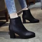 短靴女粗跟英倫風2021秋款高跟馬丁靴冬季時裝靴子瘦瘦靴網紅單靴 夏季新品