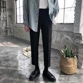 西裝褲 春季韓版垂感小西褲男直筒九分褲修身男士小腳休閒褲潮黑色西裝褲 polygirl