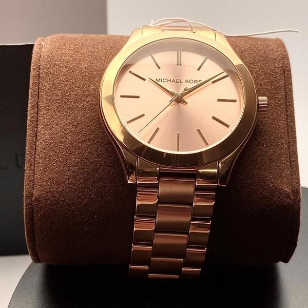 星晴錶業-MK邁克科爾斯女錶,編號MK3493,42mm金色錶殼,金色, 玫瑰金色錶帶款
