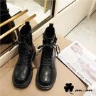 短靴 歐美風個性百搭厚底軍靴(黑)* a...