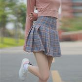 韓版秋裝女裝小清新格子半身裙高腰百褶裙顯瘦夏季學生A字裙短裙  Cocoa