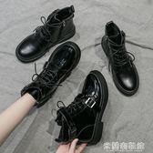 流行短靴 高幫潮鞋女馬丁靴秋季新款黑色百搭英倫風帥氣機車短靴薄款潮 米蘭潮鞋館