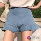 丹寧短褲荷葉邊木耳邊 波浪邊鬆緊高腰牛仔短褲 艾爾莎【TAE6568】