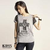 【BTIS】剪接圓領T-shirt / 麻灰色