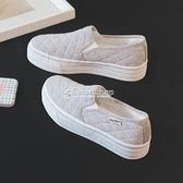人本帆布鞋女夏季白色一腳蹬懶人鞋韓版潮厚底學生小白鞋3092 快速出貨