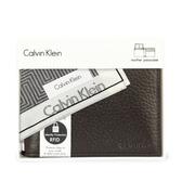 Calvin Klein荔枝紋皮革可拆式證件短夾禮盒(咖啡色-含帕巾)103018-1