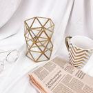 TOOKI & CO【Z432216】時尚菱格透明幾何金屬鐵藝造型收納桶/筆刷收納桶/筆筒/置物桶-Refined
