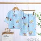 兒童夏季棉綢睡衣套裝男童女童家居服綿綢薄款中大童七分袖空調服 小艾新品