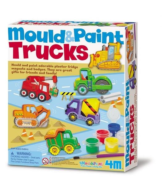【4M】03538 美勞創意-建築工程車 製作磁鐵 Mould & Paint Trucks