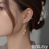 流蘇耳環鋯石樹葉時尚耳掛女簡約冷淡風仙氣超仙小眾設計感耳飾年新款 迷你屋 新品
