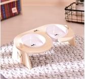 寵物碗餐桌斜口保護頸椎陶瓷貓碗貓咪食盆狗飯碗貓糧雙碗
