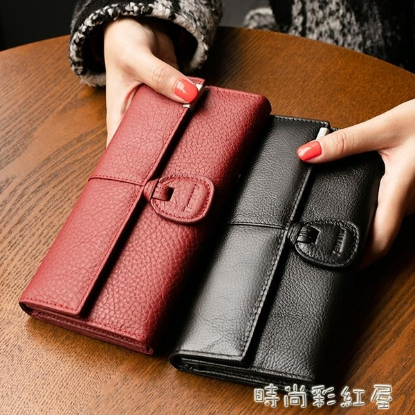 韓版新款三折女士真皮錢包多卡位女式錢夾日韓搭扣長款大鈔夾薄「時尚彩紅屋」