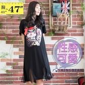 連衣裙--氣質可愛貓咪釘珠蝴蝶結開岔拼接網紗圓領短袖洋裝(黑2L-3L)-D516眼圈熊中大尺碼