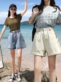 短裤 闊腿牛仔短褲女夏寬鬆2020新款外穿超高腰顯瘦a字米白色 【免運86折】