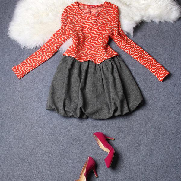 洋裝【2207】FEELNET中大尺碼女裝春裝拼接條紋長袖洋裝 3XL-5XL碼