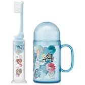 〔小禮堂〕迪士尼 公主 杯裝旅行牙刷組《淡藍.花朵》折疊牙刷.盥洗用品4973307-41962