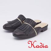 kadia.復古流蘇造型拖鞋(9608-90黑色)