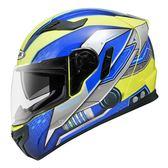 [東門城] ZEUS ZS813-AN19 螢光黃藍 輕量雙鏡 全罩式安全帽 內襯可拆洗