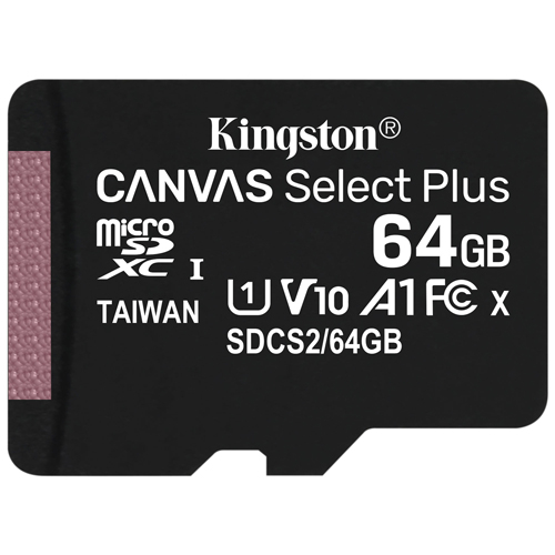 Kingston 金士頓 Canvas Select Plus microSDXC 64GB 記憶卡 含SD轉接卡 (SDCS2/64GB)