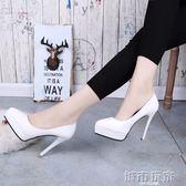 防水台尖頭性感根鞋超高跟鞋細跟單鞋女10公分小碼33-34夜店公主 城市玩家
