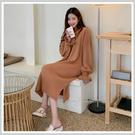 連身裙 慵懶開叉針織長袖洋裝MR9159...