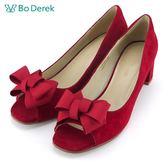 【Bo Derek】蝴蝶結羊皮魚口粗跟鞋-深紅