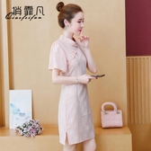 限時特價 夏季改良版旗袍式格子連衣裙子女裝夏裝年新款氣質夏天小個子