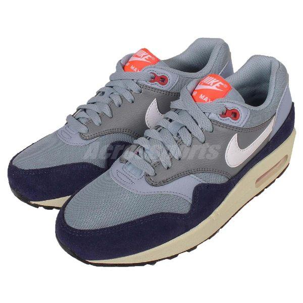 Nike 復古慢跑鞋 Wmns Air Max 1 Essential 灰 藍 麂皮 奶油底 運動鞋 女鞋【PUMP306】 599820-400